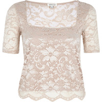 River Island Womens Light pink lace square neck fitted top