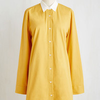 Mid-length Long Sleeve Shift Don't You Look Dapper? Dress in Goldenrod