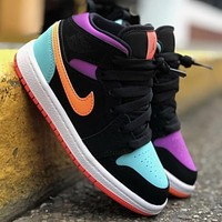 NIKE Air Jordan 1 LOW Joe 1 middle black mandarin duck color hook couple sneakers Shoes