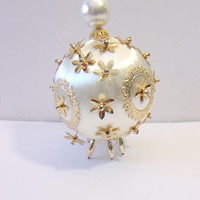Satin Beaded Christmas Ornament Ornate Vintage Holiday Home Decor Retro Decorating Accents