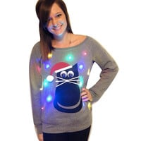 Women's UGLY CHRISTMAS SWEATER - Cat!!! - Light Up - Swoop Neck / Off The Shoulder Christmas Sweater  _____**Fast Shipping**_____