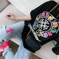 """Chrome Hearts"" Unisex Personality Horseshoe Multicolor Print Cowhide Sanskrit Embroidery Couple Short Sleeve Cotton T-shirt Top Tee"