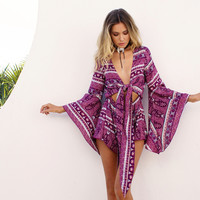 Summer Vacation Casual Print Romper