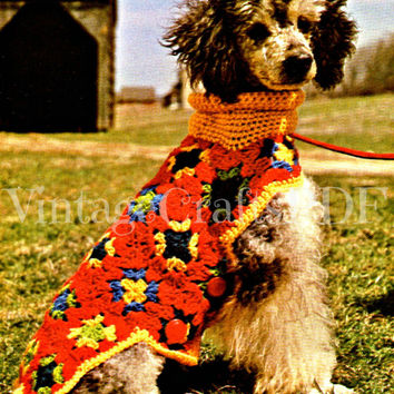 Putting on the Dog Coat 1970s Vintage Granny Square Crochet Pattern Dog Sweater Crochet Pattern Dog Coat Jacket Sweater Easy Crochet Pattern