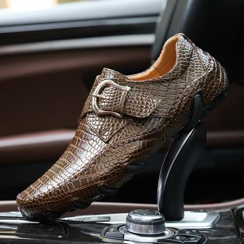 Men Loafers Spring and Autumn Men Casual Shoes Genuine Leather Driving Shoes Crocodile Texture Men's Flats Shoes