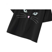 Round Neck Adorable Kitty Face Embroidery Black T-Shirt - Beautifulhalo.com