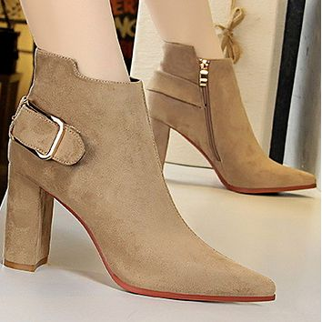 New high-heeled boots with velvet all-match metal belt buckle shoes