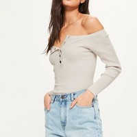 Missguided - Grey Bardot Popper Ribbed Knitted Bodysuit