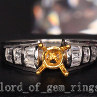 Baguette Diamond Engagement Semi Mount Ring 14K Two Tone Gold Setting Round 6mm