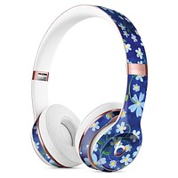 Flowers with Stems over Blue Watercolor Full-Body Skin Kit for the Beats by Dre Solo 3 Wireless Headphones