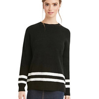 Black Rib Cuff Sleeve Sweater with Striped Bottom