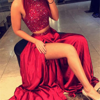 Sexy Bling Red Two 2 Piece Prom Dresses Long Womens A Line Sequin Glitter Evening Dresses for Graduation vestido de festa