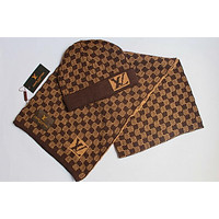 LV Stylish Trending Women Men Knit Hat Cap Scarf Set Two-Piece Coffee