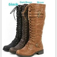 Strappy Low Heel Women's Knight Boots