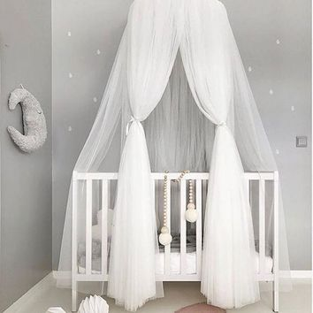 Crib Netting Hanging Kid Bedding Round Dome Canopy cover Mosquito Net Curtain Room Decoration Crib Netting