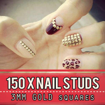 Gold Metal Nail Studs 3d Nail Art Decorations 3mm Squre Studded Manicure Punk