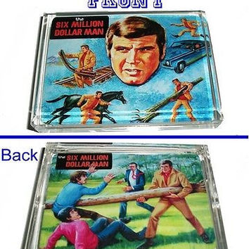 Six Million Dollar Man retro lunchbox front and back art Paperweight