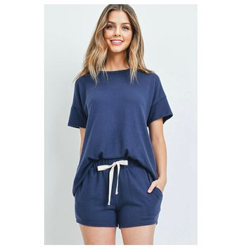 Cozy Me! Hacci Brushed Navy 2 Pc Top and Shorts Set