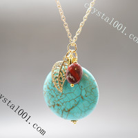 Retro gold  turquoise leaf necklace chakra stone necklace crystal healing necklace  blue gemstone necklace bridal necklace
