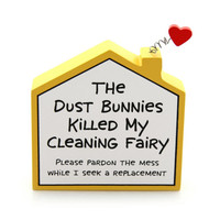 Enesco Our Name is Mud Cleaning Fairy House Plaque NIB Item #4027109
