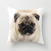 Snow Pug Throw Pillow by Veronica Ventress
