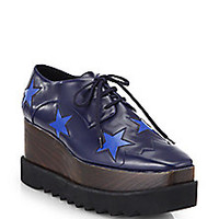 Stella McCartney - Leather Star Lace-Up Platform Sneakers - Saks Fifth Avenue Mobile