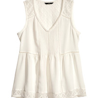 Top with Lace Trim - from H&M