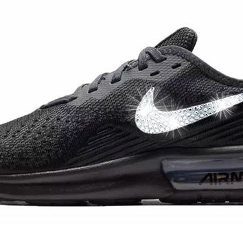 CLEARANCE - Womens Nike Air Max Sequent 4 + Crystals - Triple Black - Size 9