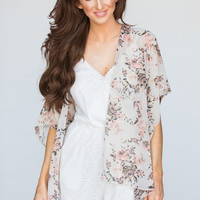 Everly Cream and Pink Floral Kimono