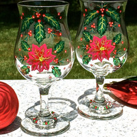 Hand Painted Christmas Glasses With Wine Glass Charms, Christmas Glasses, Holiday Glasses, Christmas Gift Ideas, Christmas Decor