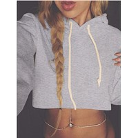 Fashion Casual Solid Color Long Sleeve Hooded Sweater Crop Tops