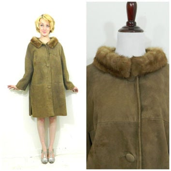50s vintage suede coat / Mid century mink collar fur jacket / tan leather / Mod coat / Winter
