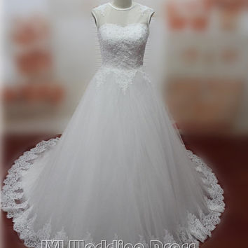 Real Photos A-line Vintage Wedding Dresses with Lace Wedding Gowns Lace-up Closure Bridal Gowns Custom Made Bridal Dress