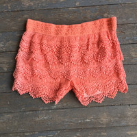 Lace Tiered Short - Peach Orange