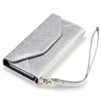 """IPHONE 5 """"COVERT"""" BRANDED PURSE WALLET PU LEATHER CASE, SILVER SNAKESKIN/BLACK"""