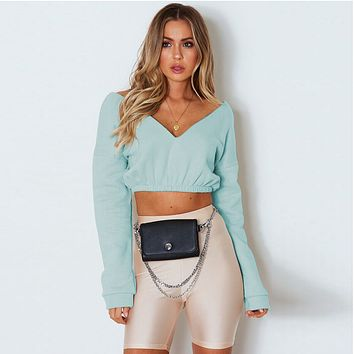 Women All-match Simple Solid Color V-Neck Long Sleeve Sweater Crop Top