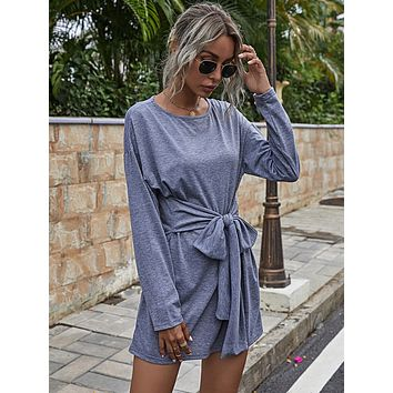Tie Front Drop Shoulder Tee Dress