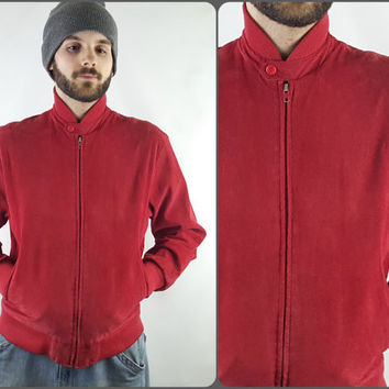 80s Red Suede Bomber Jacket Genuine Leather Vintage Norm Thompson Red Suede Leather Zip Up Jacket Size Small Medium
