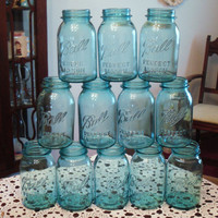 Eight (8) Blue Ball Mason Jars Blue Ball Jars Ball Quart Jars Vintage Mason Canning Jars