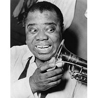 """Louis Armstrong poster Metal Sign Wall Art 8in x 12in 12""""x16"""" Black and White"""