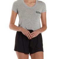 Heather Gray Play Hard Embroidered Pocket Tee by Charlotte Russe