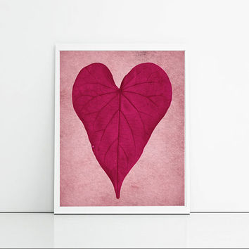 Autumn Themed Art Print - Girly Bedroom Decor - Love Heart In Plum And Pink - Gift For Girlfriend Or Friend - Leaf Art Home Decor Art Print