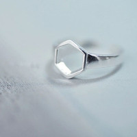 Ring——925 Sterling Silver Hexagon Ring,Simple Adjustable Ring