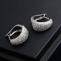 CZ Encrusted Creole Hoop Earrings in 18K White or Yellow Gold