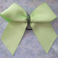 Green Cheer Bow with Sparkle by MadiLeighBowtique