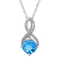 Swiss Blue Topaz and Diamond Pendant-Necklace in Sterling Silver (1 3/4ct tgw)