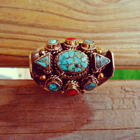 Exotic Turquoise and Coral Tibetan Ring- Dragon Ring- Coral and Turquoise- Silver Stone ring- Turquoise stone- Bohemian jewelry