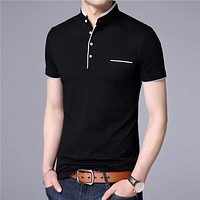 Mandarin Collar Short Sleeve Tee Shirt Men Spring Summer New Top Men Clothing Slim Fit Cotton T-Shirts
