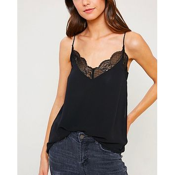 Final Sale - V-Neck Sleeveless Lace Trimmed Camisole Top in Black
