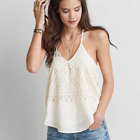 AEO Lace Inset Tank, Cream
